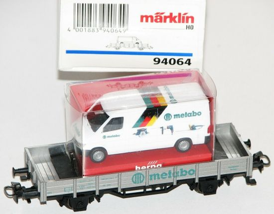 "Märklin H0 94064 Niederbordwagen ""Metabo"" mit Mercedes Sprinter (Herpa) AS20111"