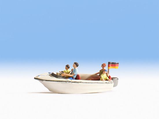 NOCH 16820 H0 handbemalt Neu Motorboot mit 4 Figuren