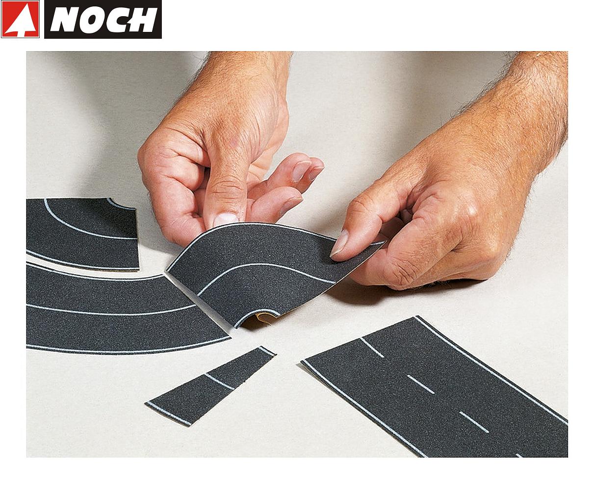 2 Stück 8cm breit Bundesstraße Universalkurve Asphalt 60701 Noch HO Modell